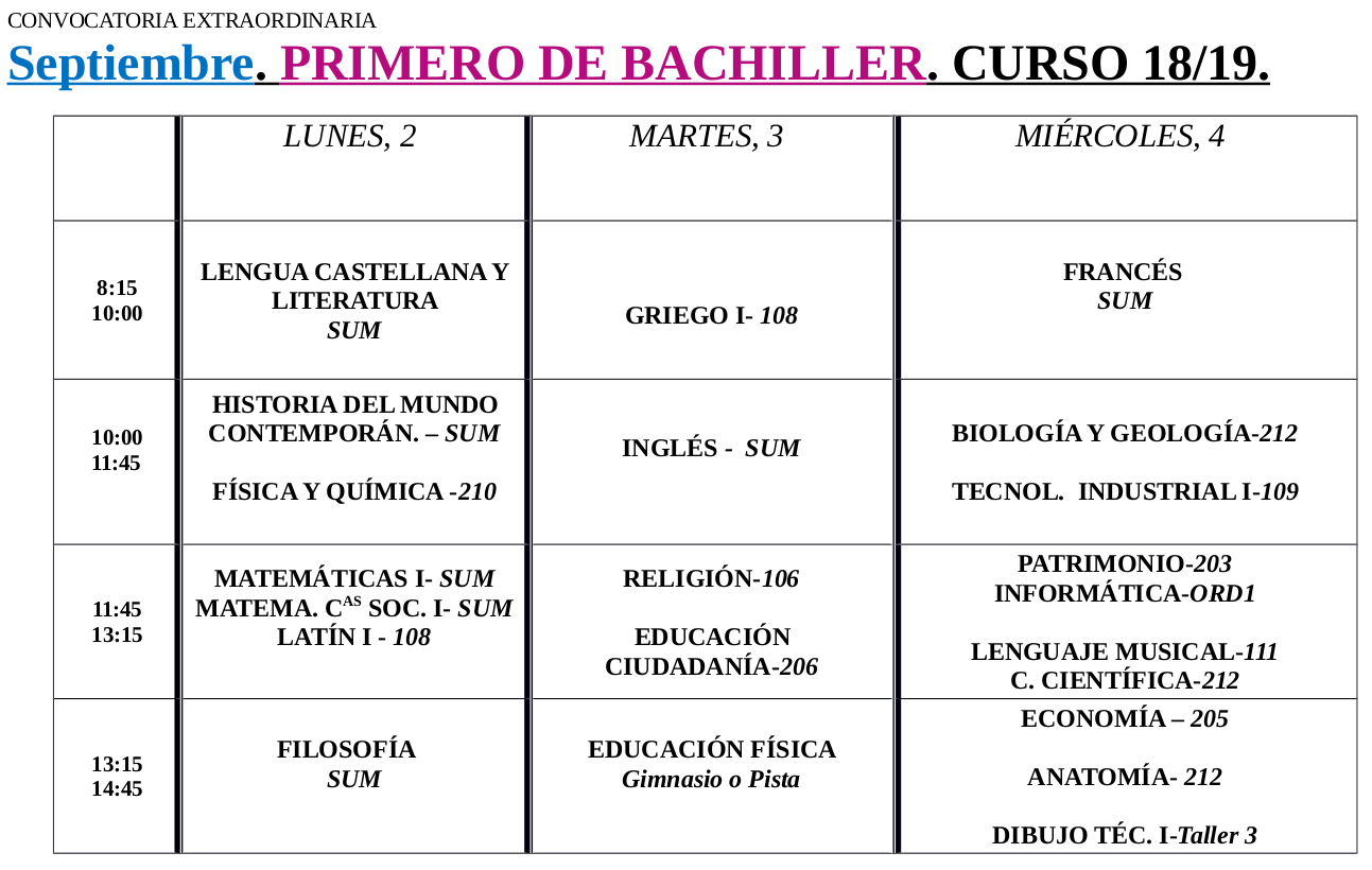 Calendario Dibujo 2019.Calendario De Examenes De Septiembre 2019